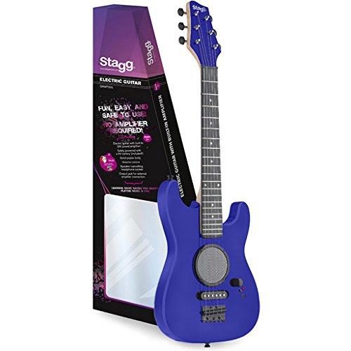 Stagg GAMP200-BL - Guitarra eléctrica para niños (3 vatios amplificador de operación, batería de 9V, control de volumen) color azul