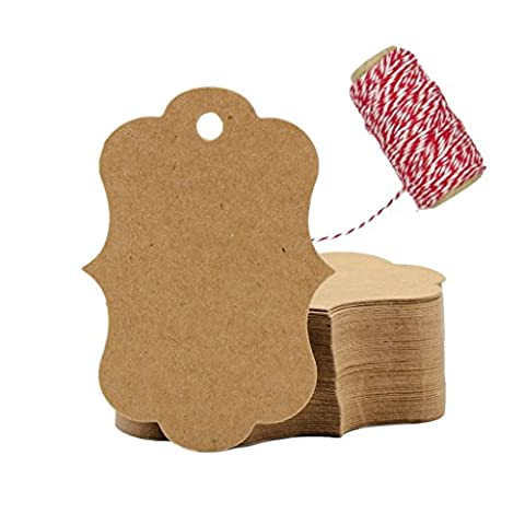 eKunSTreet ® 100PCS Fancy Edge Kraft Brown Paper Hang Tag