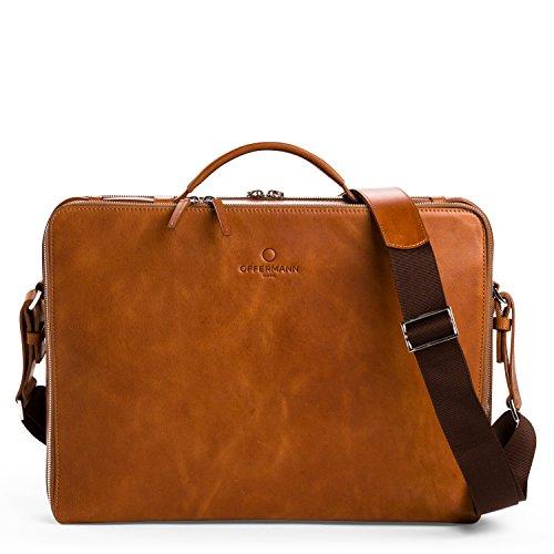 OFFERMANN Ledertasche Businesstasche Workbag L als Aktentasche und Umhängetasche schwarz L - Cognac