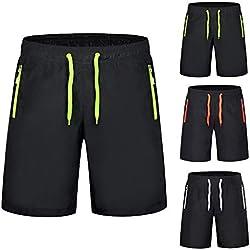 Alaso Short de Course pour Hommes avec Poches Zippées Invisibles Short de Sport Léger Respirant Séchage Rapide Pantalons Court pour Jogging Entraînement Gym Fitness
