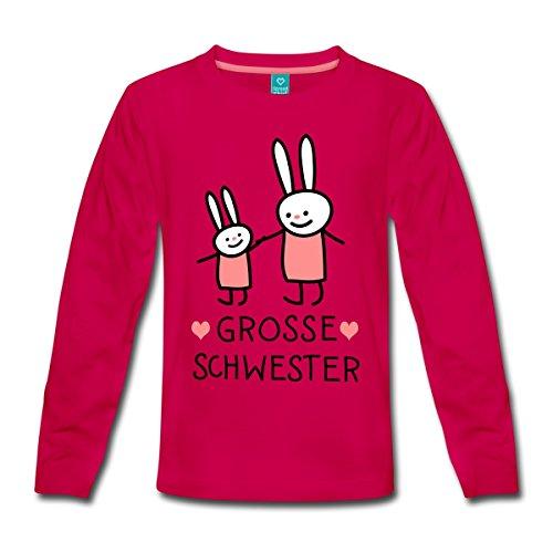 Spreadshirt Grosse Schwester Häschen Hasen Kinder Premium Langarmshirt, 110/116 (4 Jahre), Dunkles Pink