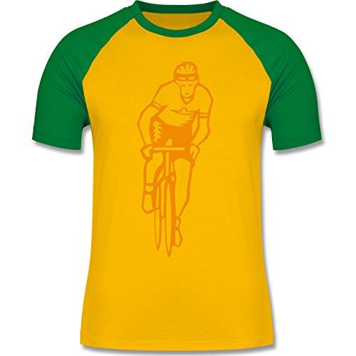 Radsport - Radsport - zweifarbiges Baseballshirt für Männer Gelb/Grün