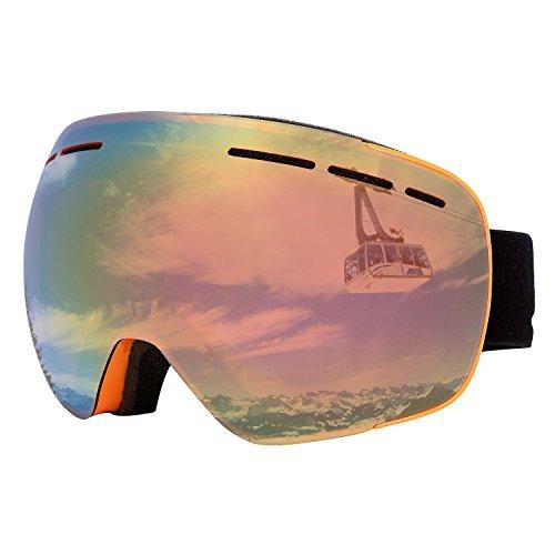 Skibrille Herren Snowboardbrille Damen für OTG brillenträger Ski Snowboard Brille Dual-Vented verspiegelt mit F3 Anti-Fog UV400 polarisiert Skibrillen wechselgläser für Erwachsene (One Size, Orange (VLT 33,6%)) (Innenfutter Feuchtigkeit Leitet Ab)