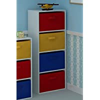 Home Source 4 Tier Toy Storage Unit Kids Chest of 4 Canvas Drawers for Bedroom or Playroom