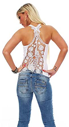 10468 Fashion4Young Damen Tank-Top in Ripp-Optik Spitze Häkelspitze-Top Shirt verfügbar in 9 Farben 2 Größen (S/M 34/36, Weiß)