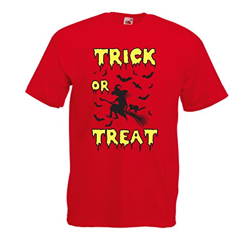 Männer T-Shirt Trick or Treat - Halloween Witch - Party outfites - Scary costume (Medium Rot Mehrfarben) (Star Song Halloween Kostüm)