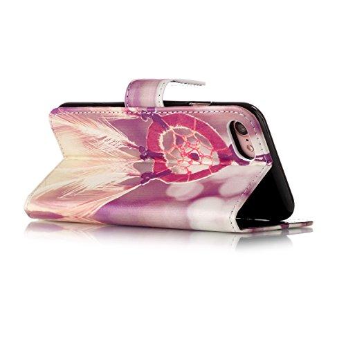 iPhone 7 Hülle,SainCat iPhone 7 Ledertasche Handyhülle Brieftasche im BookStyle Erleichterung Pfaublume Muster PU Leder Hülle Wallet Case Folio Schutzhülle Lederhülle Ledercase Scratch Bumper Handytas Traumfänger