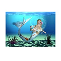 B Blesiya Self Adhesive Aquarium Mermaid Picture Background Poster Sticker HD One Side
