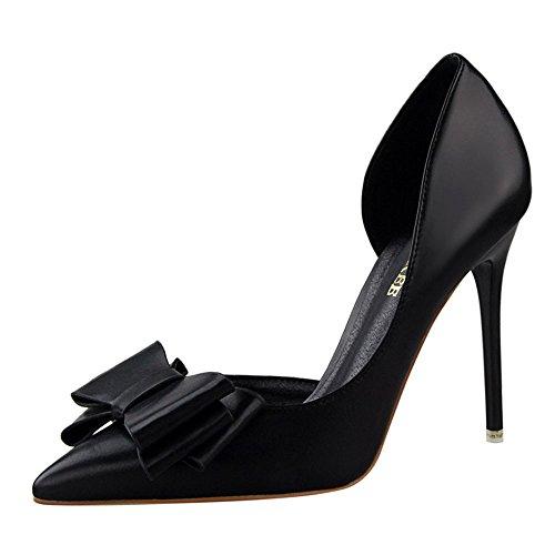 XNBZW Damen Schuhe Bowknot Leder Thick High Heel Stiletto Spitz Bow flachen Mund Single Schuhe Oberfläche Arbeitsschuhe (Schwarz,37 EU)