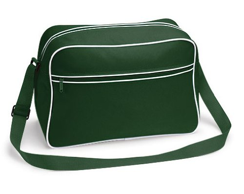 Bagbase Retro Schultertasche BOTTLE GREEN WHITE