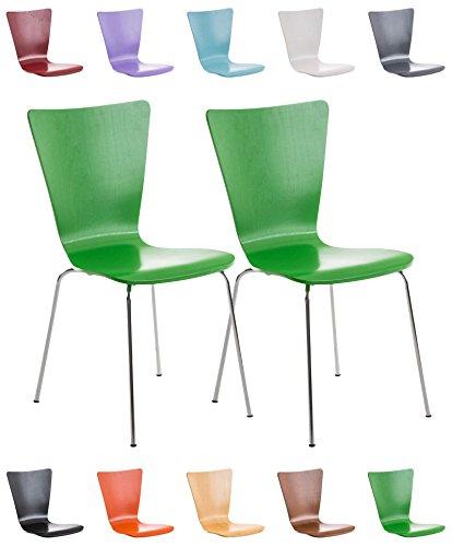 CLP 2X Stapelstuhl Aaron mit Holzsitz und ergonomisch Geformter Sitzfläche I Konferenzstuhl mit...