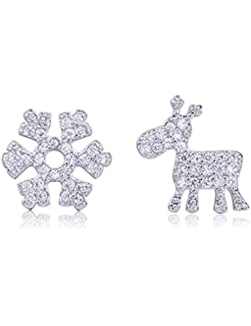 Hanie Damen Ohrringe Schneeflocke und Elch Klein Ohrstecker 925 Sterling Silber Unregelmäßige Asymmetrie Cluster...
