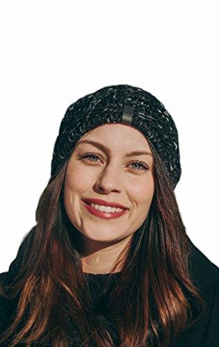 Preisvergleich Produktbild makalu Wintermütze Beanie mit Fleecefutter für Damen und Herren (Schwarz mit weißen Fasern)