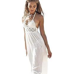 Robe Tricot Femme,Honestyi Jupon Style Halter Dress sans Manches Jupe Couleur Unie Midi Robe Chic Élégant Jupon Ete Plage Combinaison Respirant Onésies Mode Robe