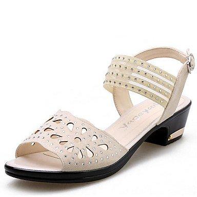 Sandales femmes Printemps Été Automne en simili cuir Confort, Talon extérieur strass beige/noir Beige
