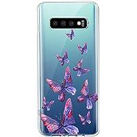 Oihxse Funda Conpatible con Samsung Galaxy Note 20 Ultra Silicona Transparente Dibujos Mariposa Cover Suave TPU Gel Cristal Clear Delgada Anti- Arañazos Protección Carcasa Case,Púrpura