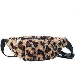 Bolsillo con Estampado de Leopardo Riñoneras Mujer Running Bolso de Hombro Bolsas de Mensajero pequeño Monedero para niñas Señoras Gusspower