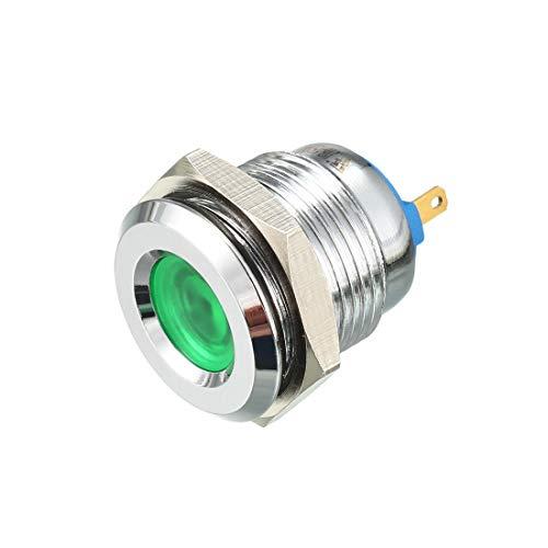 sourcing map J16-150P DC12V Dia Filetage 16mm Tête Concave témoin LED Vert