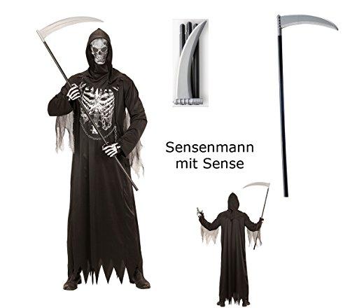 Herren Kostüm Sensenmann mit Kette + Maske Gr. L mit Sense Halloween Verkleidung