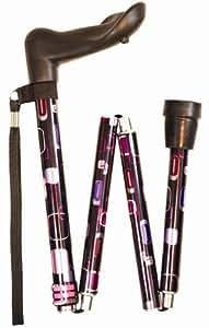 Anatomical Folding Walking Sticks including NEW Patterned options - 90AL - Squares,Left Handed