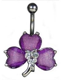 Piercing General - Piercing Nombril Fleur Cristal EPS - Violet