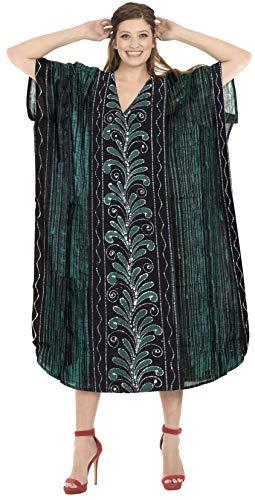 LA LEELA Frauen Damen Baumwolle Kaftan Tunika Batik Kimono freie Größe Lange Maxi Party Kleid für Loungewear Urlaub Nachtwäsche Strand jeden Tag Kleider Grün_D314 -