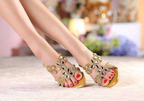 SFSYDDY-Zapatillas De Verano De Moda Femenina Vistiendo La Nueva Moda De Arrastrar Y Soltar La Mujer Zapatillas De Tacón Alto Insertar La Broca Sexy Zapatos champagne
