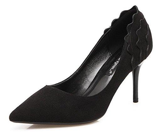 AalarDom Femme Dépolissement Stylet Pointu Tire Chaussures Légeres Noir-Onde