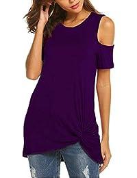 Camisas Mujer Casual,❤☀ Verano Blusa y Camisa Mujer Manga Corta sin Tirantes Imprimiendo