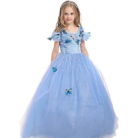 GenialES® Disfraz Vestido Princesa Azul con Broches de Mariposas para Cumpleaños Carnaval Fiesta Cosplay Halloween Talla 150