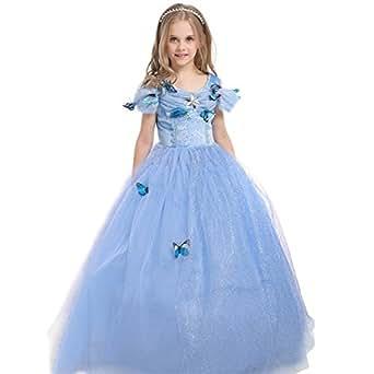 GenialES Costume Vestito Blu da Ragazze Principessa Cenerentola con Farfalla Spille per Partito Cosplay Halloween Carnevale Compleanno Taglia 110 3-4anni