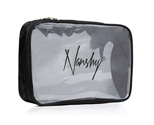 Nanshy - Trousse de maquillage de voyage avec partie avant transparente et fermeture Éclair - transparent - Idéal pour l'aéroport, le vol en cabine, les articles de toilette des vacances