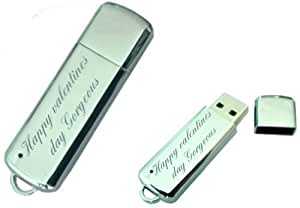 Happy valentines day gorgeous Engraved 8GB USB Chrome Memory Stick with gift pouch
