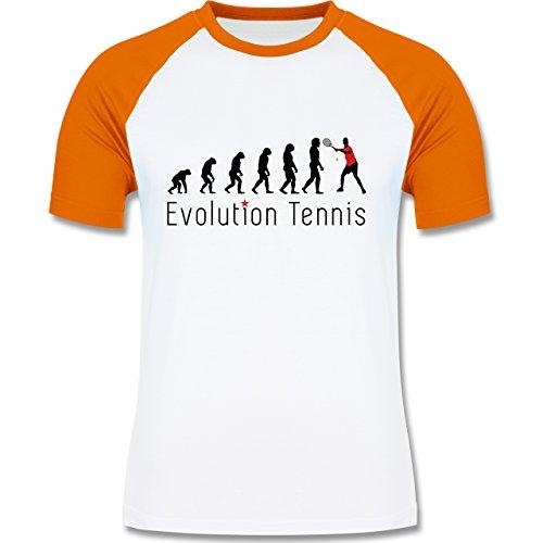 Evolution - Tennis Evolution - zweifarbiges Baseballshirt für Männer Weiß/Orange