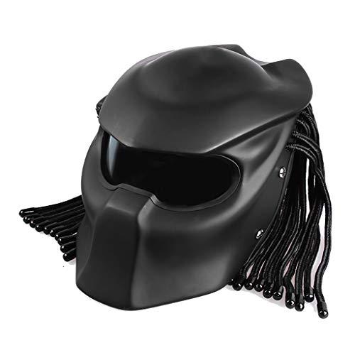 Lsrryd Casque de Moto Masque Complet Predator Masque pour Homme Tresses à Franges, éclairage LED (Taille : XL)