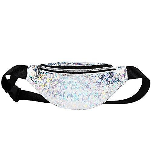 sche, Damen Mode Bling Pailletten Zip Party Strand Schulter Messenger Cross Chest Bag Clutch (W-Pailletten-Silber) ()