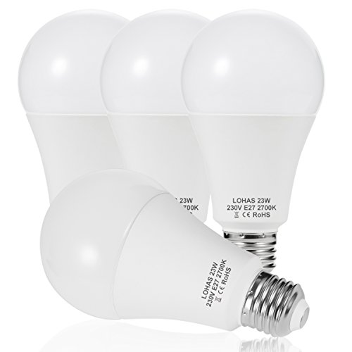 LOHAS LED A65 E27 Edison Screw Bulbs 200W Equivalent, 23W LED Light, Warm White 2700K, Super Bright 2500Lm, Non-Dimmable, Energy Saving Light Bulbs, Pack of 4