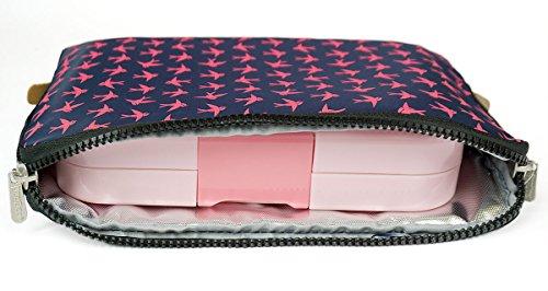 ❤ Yumbox Poche (Navy Birds) - Kühltasche für u.a. Yumbox Tapas Bento Box - Lunchbox Thermotasche, Brotdosen Isoliertasche