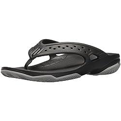 Crocs Swiftwater Deck Flip Men, Herren Zehentrenner, Schwarz (Black/light Grey), 43/44 EU