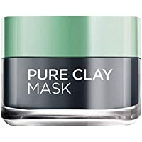 L'Oreal Paris Pure Clay Black Mask with Charcoal, Detoxifies & Clarifies, 50 ML