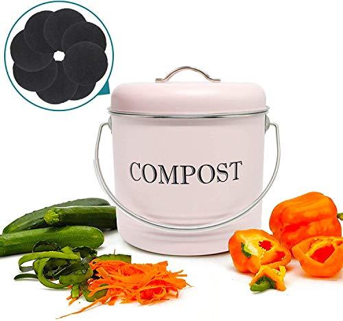 Jolitac Küche Kompost Eimer 5L Komposteimer Kompostbehälter Bio Mülleimer Kücheneimer Küchenabfalleimer für Kompost aus Metall mit Deckel und 8 Stück Aktivkohlefilter 19.5 x 21cm