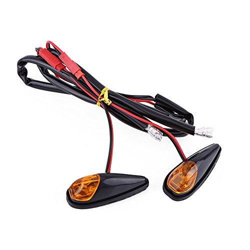 Motorrad Flush Mount LED Turn Signal Light, 2Stück/Paar Universal Motorrad Kontrollleuchte Bernstein Licht vorne hinten Blinker Kontrollleuchte, schwarz Shell 12V