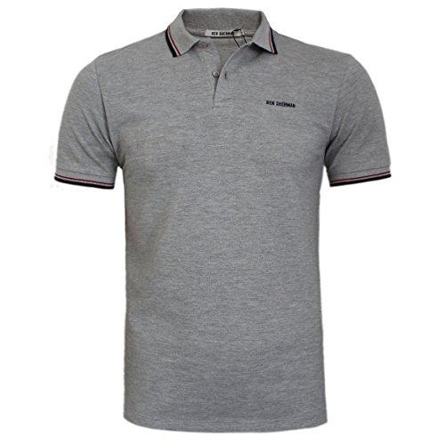 Ben Sherman Herren Poloshirt, Einfarbig schwarz schwarz / weiß Small Grau
