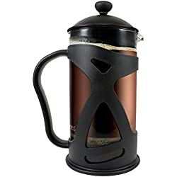 KONA French Press Coffee Tea & Espresso Maker, Black 34oz Glass Teapot