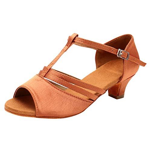 iLPM5 Damen Mode Solide Schnalle Quadrat Ferse Tanzen Rumba Walzer Ballsaal Latin Dance Schuhe ()