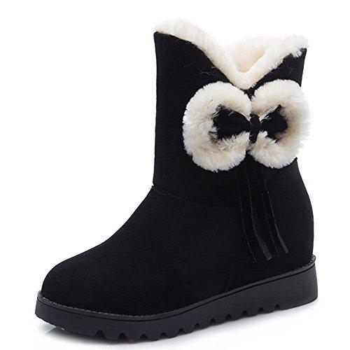 SHANGXIAN Donna Un Arco Alto Pelliccia Classico Autunno Inverno Neve Stivali Snow Boots , black , 39