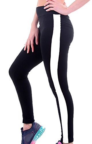 U-shot Femme Taille Empire Fitness Sports Pantalon Stretch Casual Leggings Noir + Blanc
