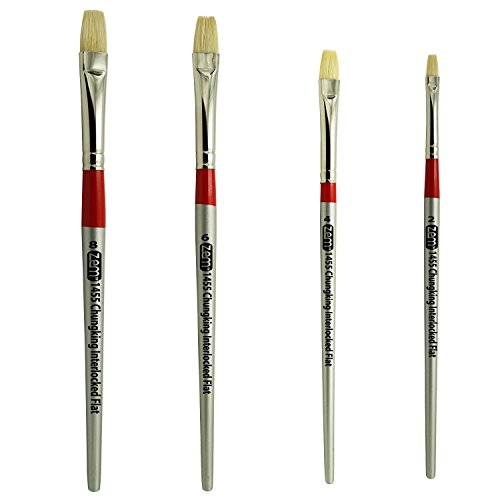 White Hog Bristle Brush (Chungking Deluxe White Hog Bristle Interlocked Flat Brush Set Sizes 2,4,6,8 by ZEM)