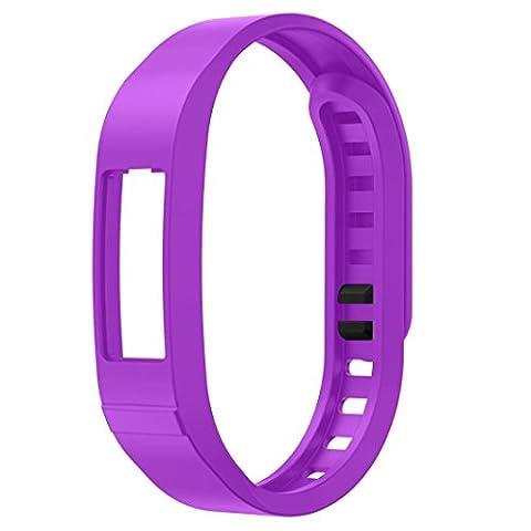 BZLine® Sportif TPU Bracelet de Remplacemen(Couleur Pure)avec Fermeture de Boucle pour Garmin vivofit 2, Violet