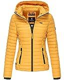 Marikoo SAMTPFOTE Damen Steppjacke - Leichte Gesteppte Jacke Übergangsjacke mit Kapuze - Gelb (XS)